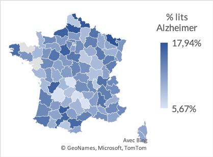 Quelle répartition pour les lits Alzheimer en EHPAD en 2020 en France.
