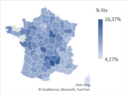 Répartitions des lits en EHPAD par départements en 2020 en France
