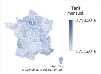 Tarif mensuel moyen en EHPAD en France en 2020